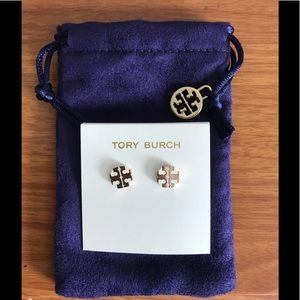 TORY BURCH IVORY ROSEGOLD STRETCH-T STUD EARRINGS